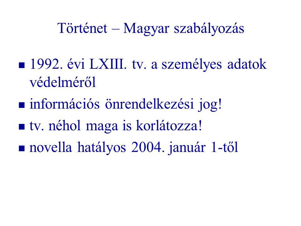 Történet – Magyar szabályozás 1992. évi LXIII. tv. a személyes adatok védelméről információs önrendelkezési jog! tv. néhol maga is korlátozza! novella