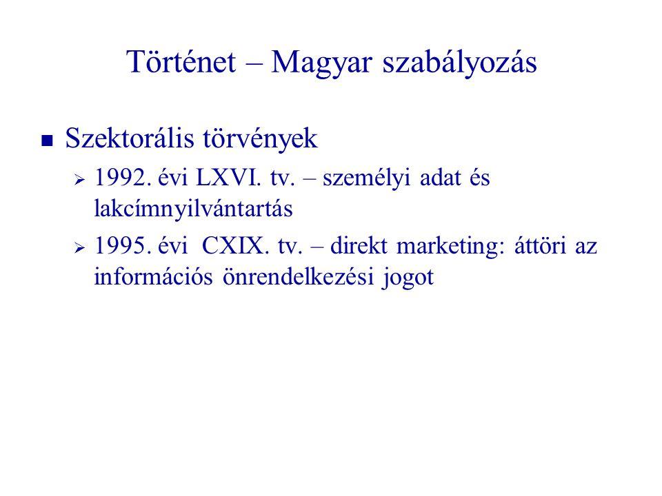 Történet – Magyar szabályozás Szektorális törvények  1992. évi LXVI. tv. – személyi adat és lakcímnyilvántartás  1995. évi CXIX. tv. – direkt market