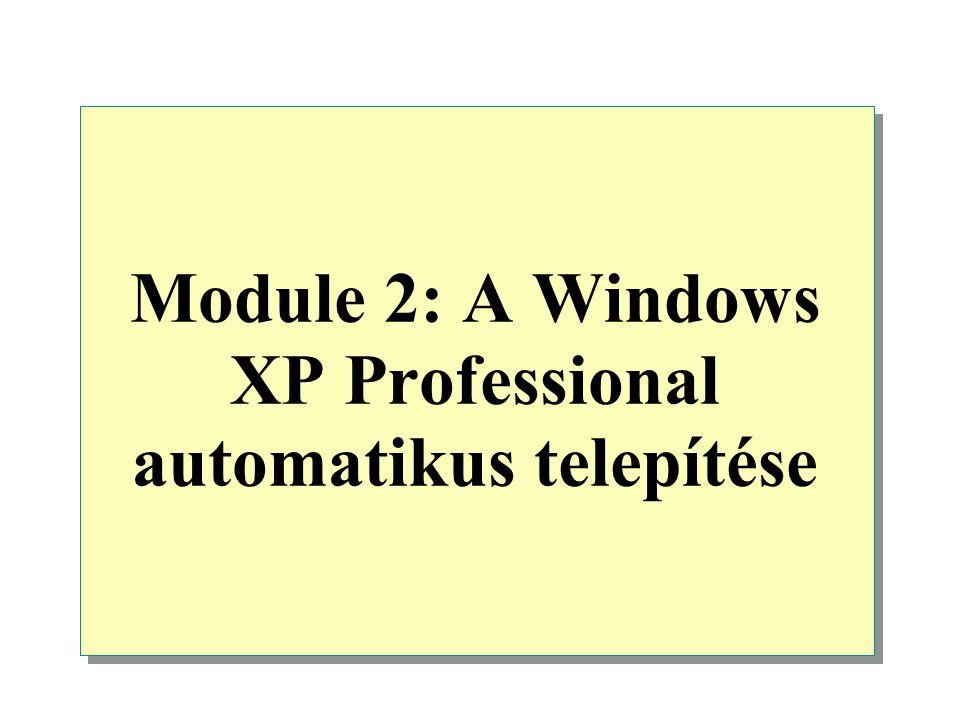 """Áttekintés Introduction to Automating an Installation of Windows XP Professional (bevezetés a WXP automatikus telepítésébe) Creating Answer Files (készítsük el a """"válasz file-t ) Creating a Uniqueness Database File Performing an Automated Installation of Windows XP Professional (a WXP Prof."""