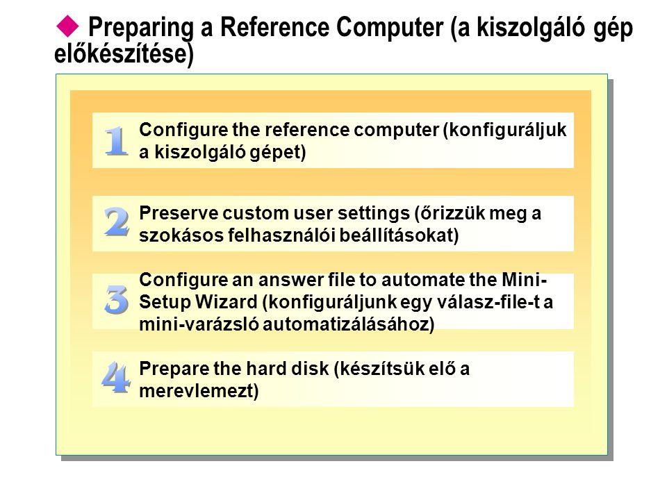  Preparing a Reference Computer (a kiszolgáló gép előkészítése) Configure the reference computer (konfiguráljuk a kiszolgáló gépet) Preserve custom u