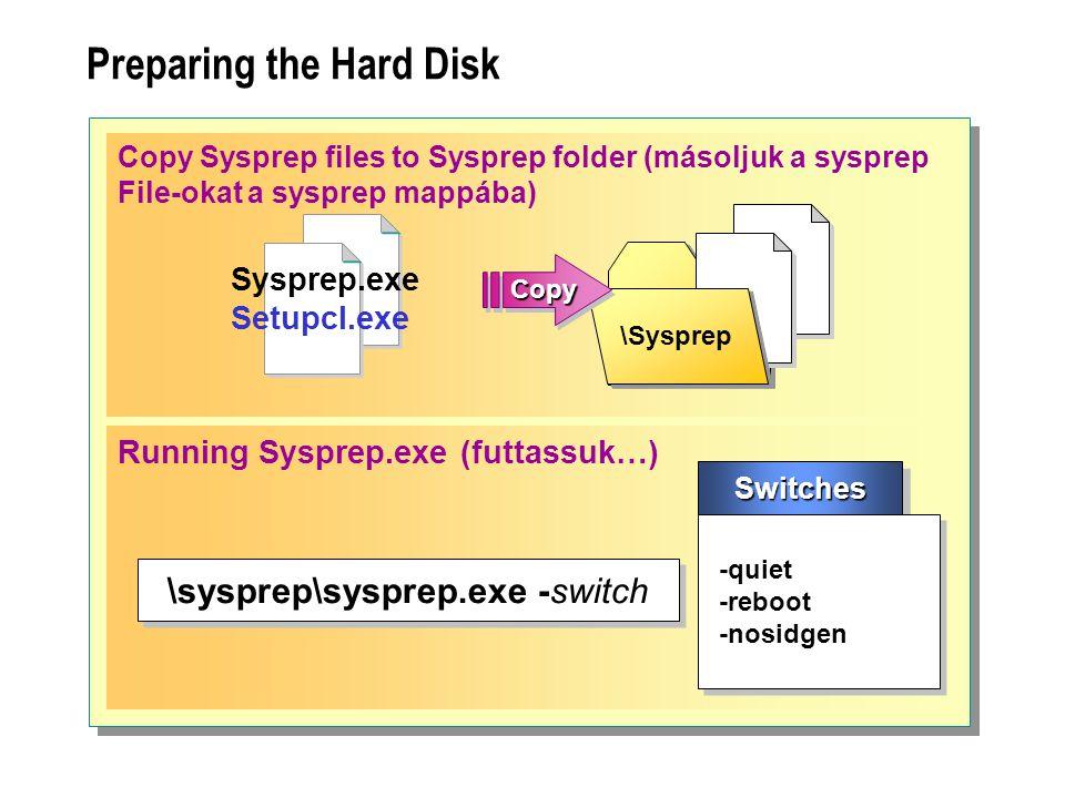 Preparing the Hard Disk Copy Sysprep files to Sysprep folder (másoljuk a sysprep File-okat a sysprep mappába) \Sysprep CopyCopy Sysprep.exe Setupcl.ex