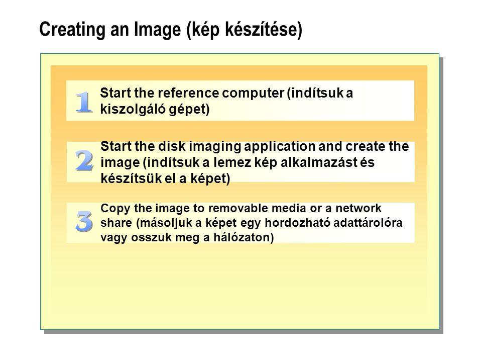 Creating an Image (kép készítése) Start the reference computer (indítsuk a kiszolgáló gépet) Start the disk imaging application and create the image (