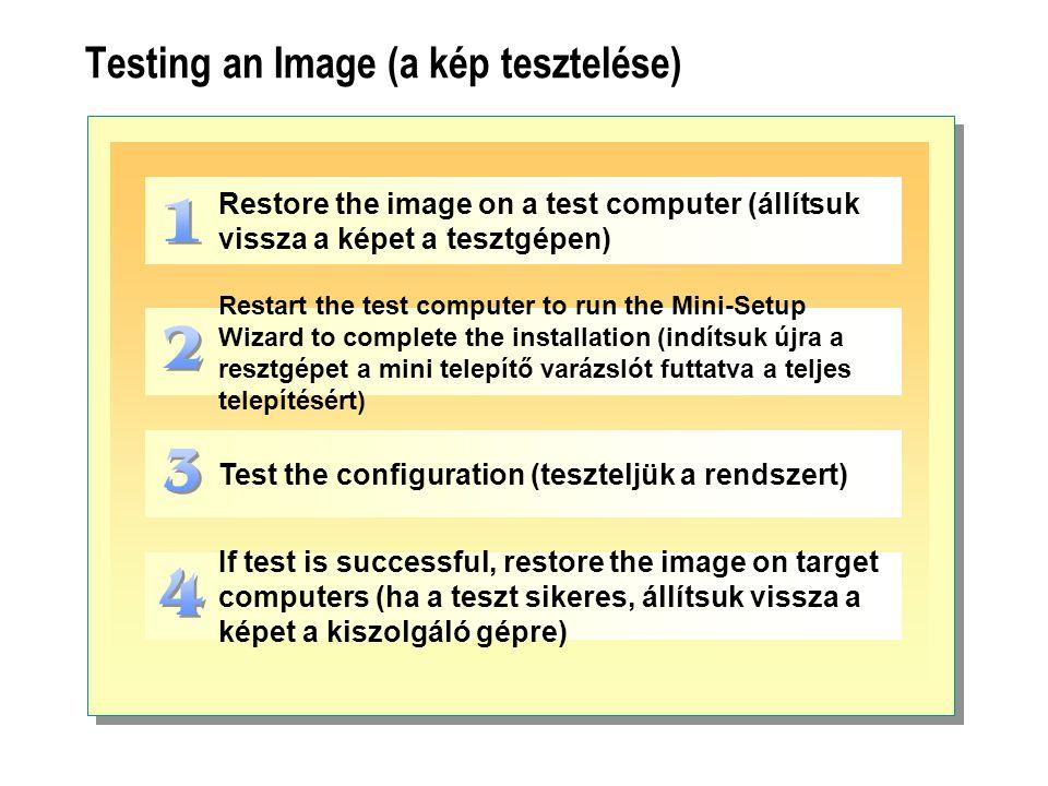 Testing an Image (a kép tesztelése) Restore the image on a test computer (állítsuk vissza a képet a tesztgépen) Restart the test computer to run the M