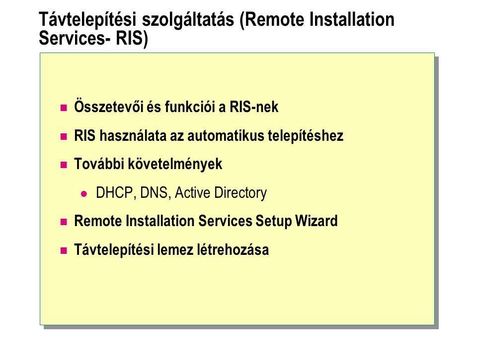 Távtelepítési szolgáltatás (Remote Installation Services- RIS) Összetevői és funkciói a RIS-nek RIS használata az automatikus telepítéshez További köv