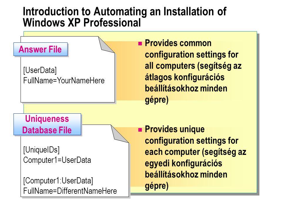 """ Creating Answer Files Understanding Answer File Syntax Installing and Running the Setup Manager Wizard (telepítsük és futtassuk a telepítési varázslót) Configuring User Interaction Level and Distribution Method (konfiguráljuk a felhasználói kölcsönhatási szintet és az elosztási módszereket) Configuring General Settings (konfiguráljuk az általános beállításokat) Configuring Network Settings (konfiguráljuk a hálózati beállításokat) Configuring Advanced Settings and Saving the Answer File (konfiguráljuk a haladó beállításokat és mentsük a """"válasz file-t )"""
