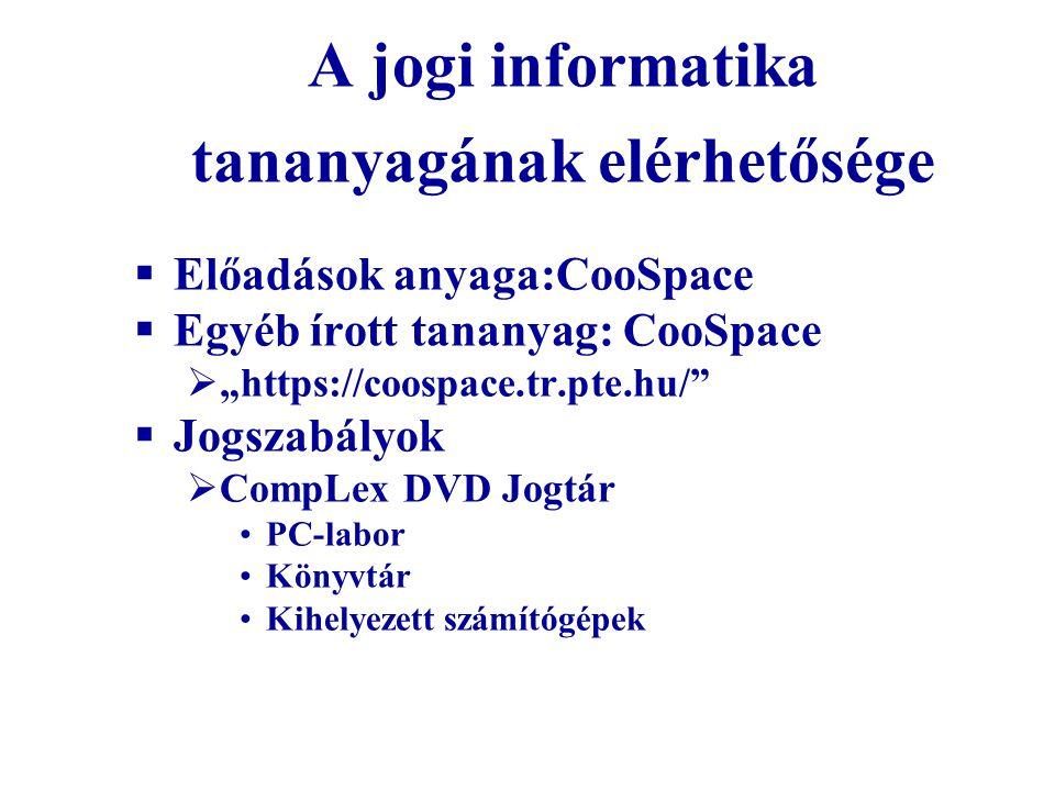 """A jogi informatika tananyagának elérhetősége  Előadások anyaga:CooSpace  Egyéb írott tananyag: CooSpace  """"https://coospace.tr.pte.hu/""""  Jogszabály"""