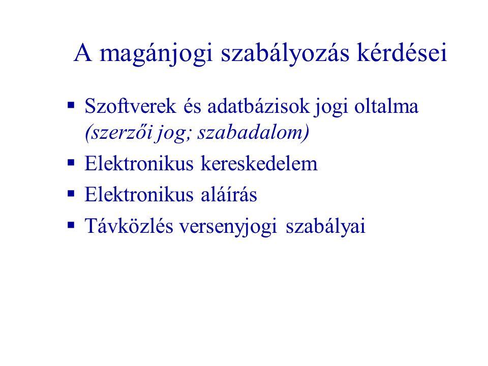 A magánjogi szabályozás kérdései  Szoftverek és adatbázisok jogi oltalma (szerzői jog; szabadalom)  Elektronikus kereskedelem  Elektronikus aláírás