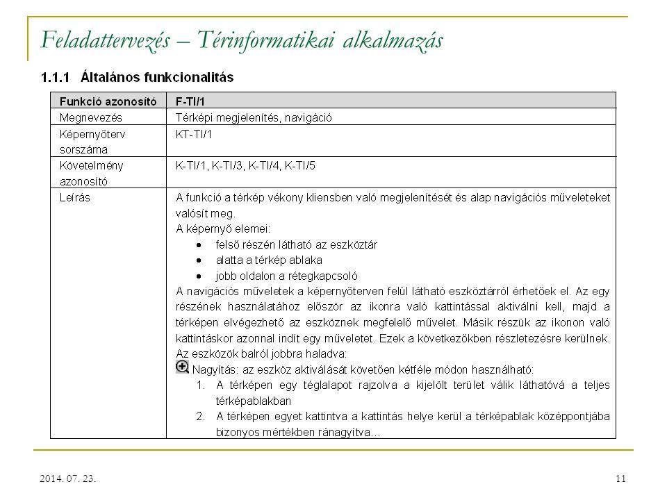 11 Feladattervezés – Térinformatikai alkalmazás 2014. 07. 23.
