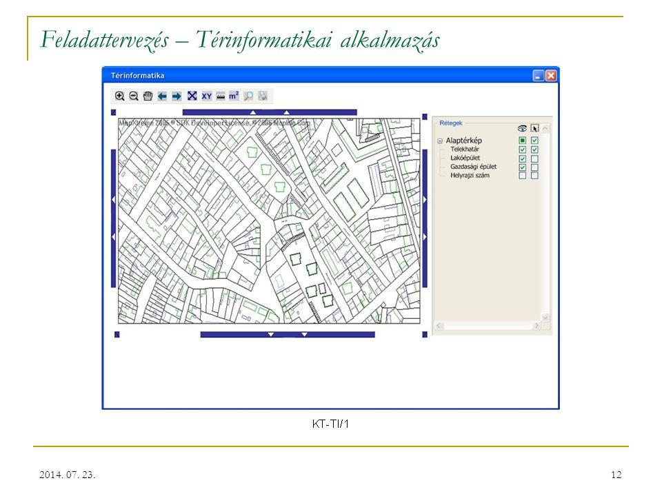 12 Feladattervezés – Térinformatikai alkalmazás 2014. 07. 23.