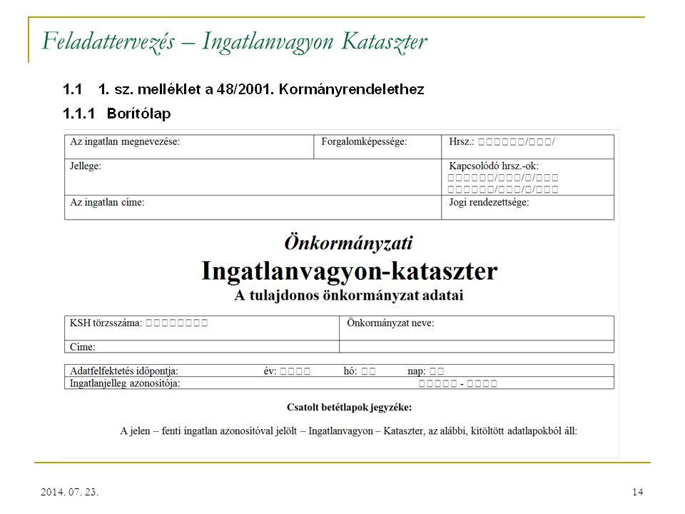 14 Feladattervezés – Ingatlanvagyon Kataszter 2014. 07. 23.