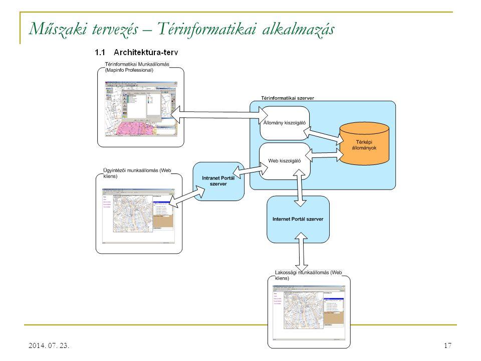 17 Műszaki tervezés – Térinformatikai alkalmazás 2014. 07. 23.