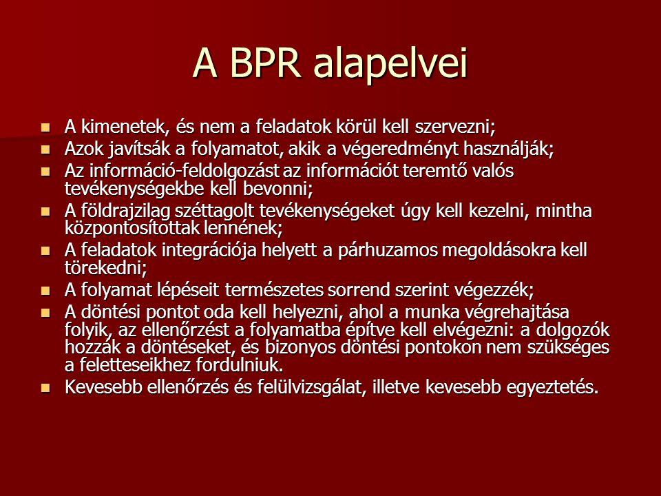 A BPR alapelvei A kimenetek, és nem a feladatok körül kell szervezni; A kimenetek, és nem a feladatok körül kell szervezni; Azok javítsák a folyamatot