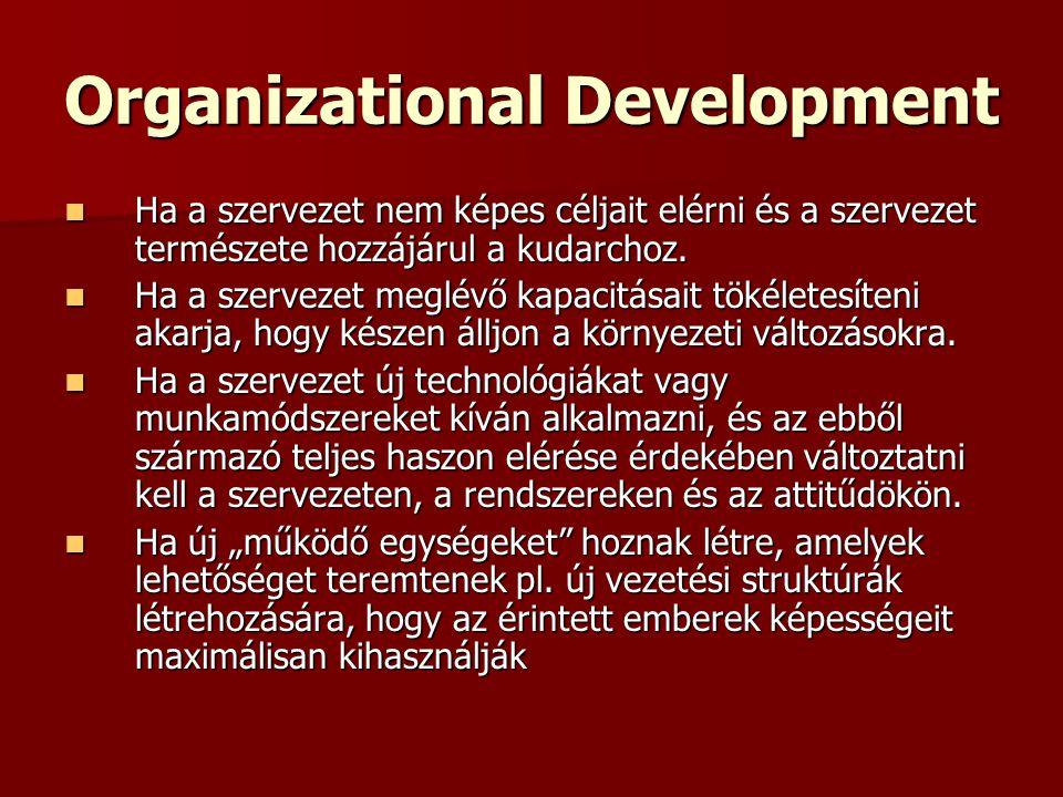 Organizational Development Ha a szervezet nem képes céljait elérni és a szervezet természete hozzájárul a kudarchoz. Ha a szervezet nem képes céljait