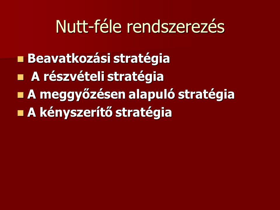Nutt-féle rendszerezés Beavatkozási stratégia Beavatkozási stratégia A részvételi stratégia A részvételi stratégia A meggyőzésen alapuló stratégia A m