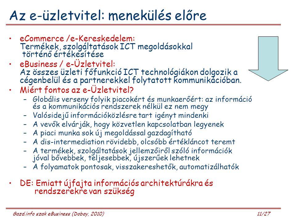 Gazd.info szak eBusiness (Dobay, 2010) 11/27 Az e-üzletvitel: menekülés előre eCommerce /e-Kereskedelem: Termékek, szolgáltatások ICT megoldásokkal történő értékesítése eBusiness / e-Üzletvitel: Az összes üzleti főfunkció ICT technológiákon dolgozik a cégenbelül és a partnerekkel folytatott kommunikációban.