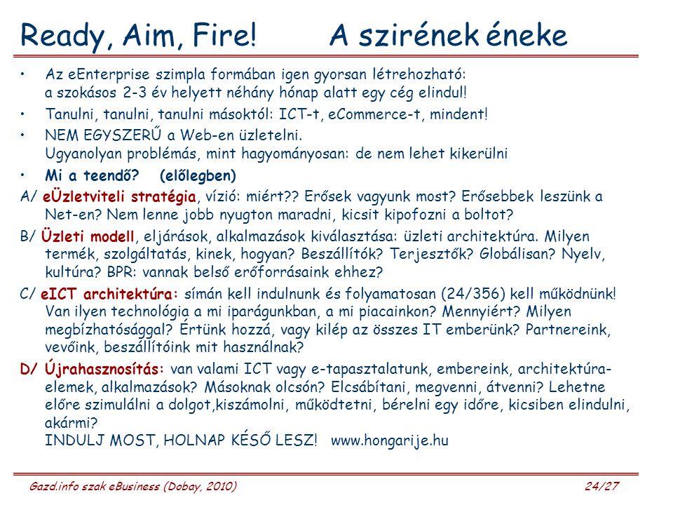 Gazd.info szak eBusiness (Dobay, 2010) 24/27 Ready, Aim, Fire! A szirének éneke Az eEnterprise szimpla formában igen gyorsan létrehozható: a szokásos