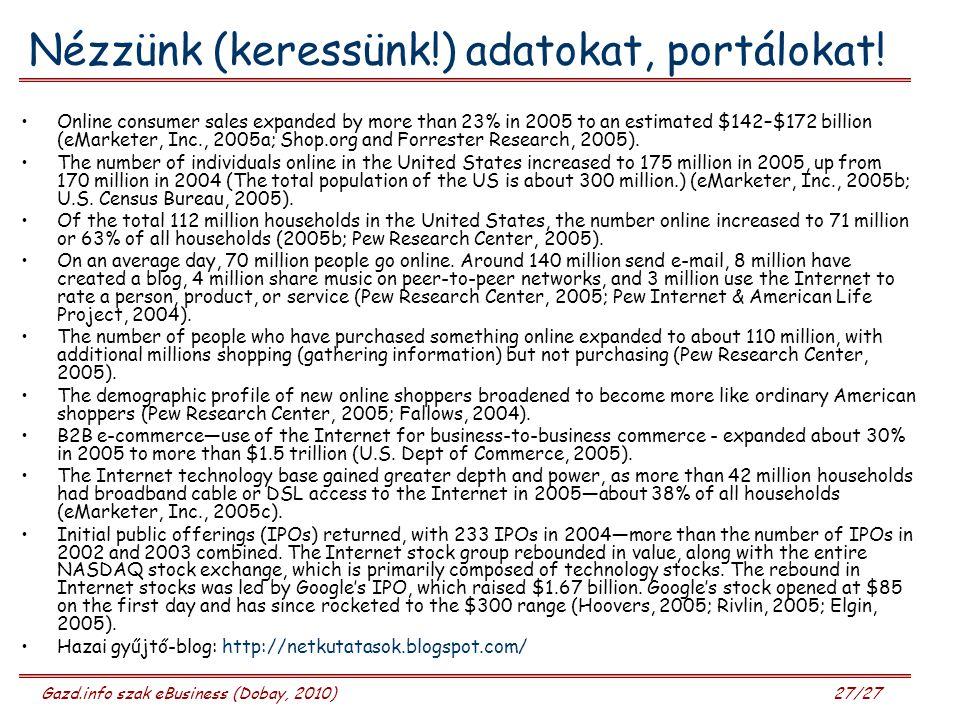 Gazd.info szak eBusiness (Dobay, 2010) 27/27 Nézzünk (keressünk!) adatokat, portálokat! Online consumer sales expanded by more than 23% in 2005 to an