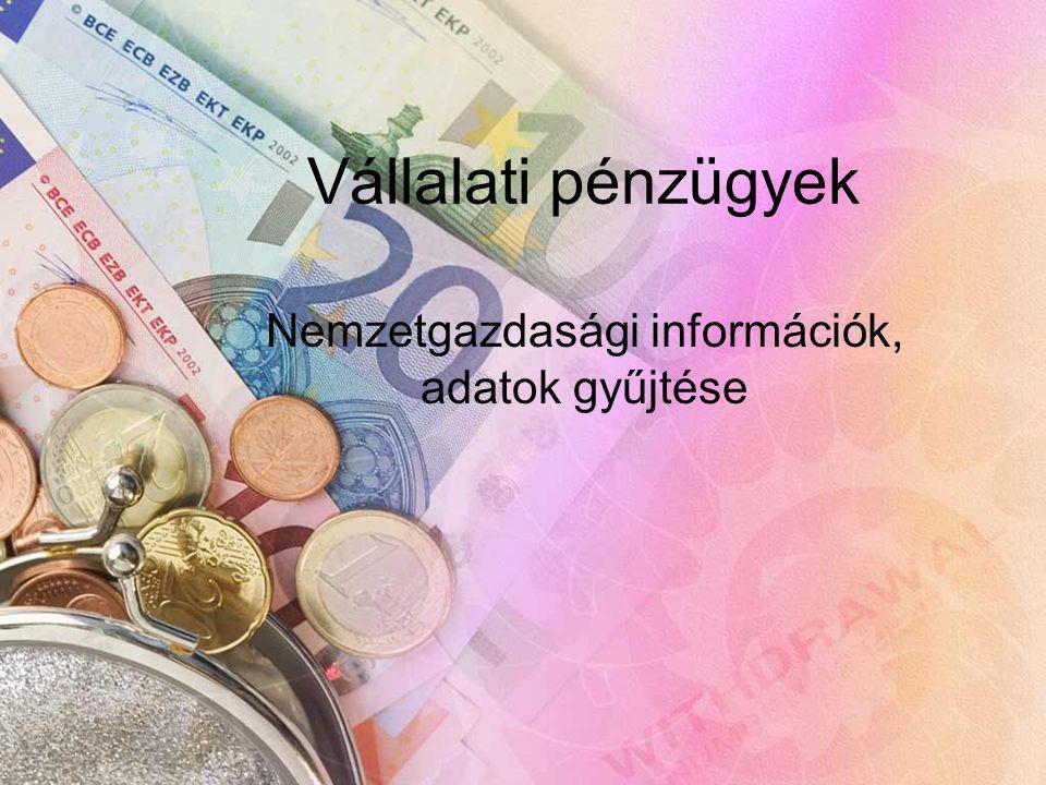 Vállalati pénzügyek Nemzetgazdasági információk, adatok gyűjtése
