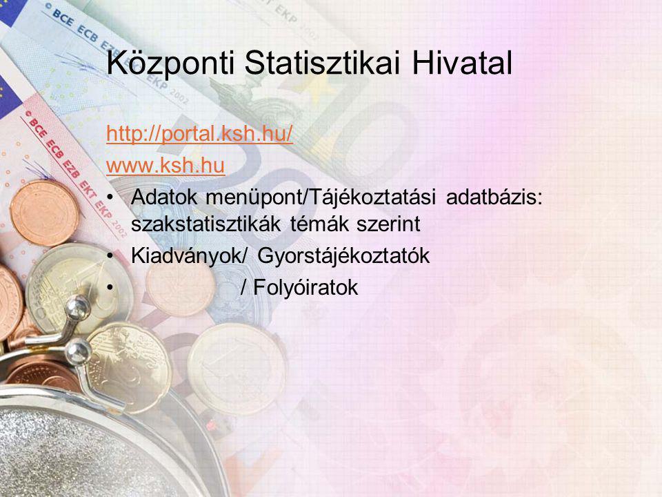 Központi Statisztikai Hivatal http://portal.ksh.hu/ www.ksh.hu Adatok menüpont/Tájékoztatási adatbázis: szakstatisztikák témák szerint Kiadványok/ Gyorstájékoztatók / Folyóiratok