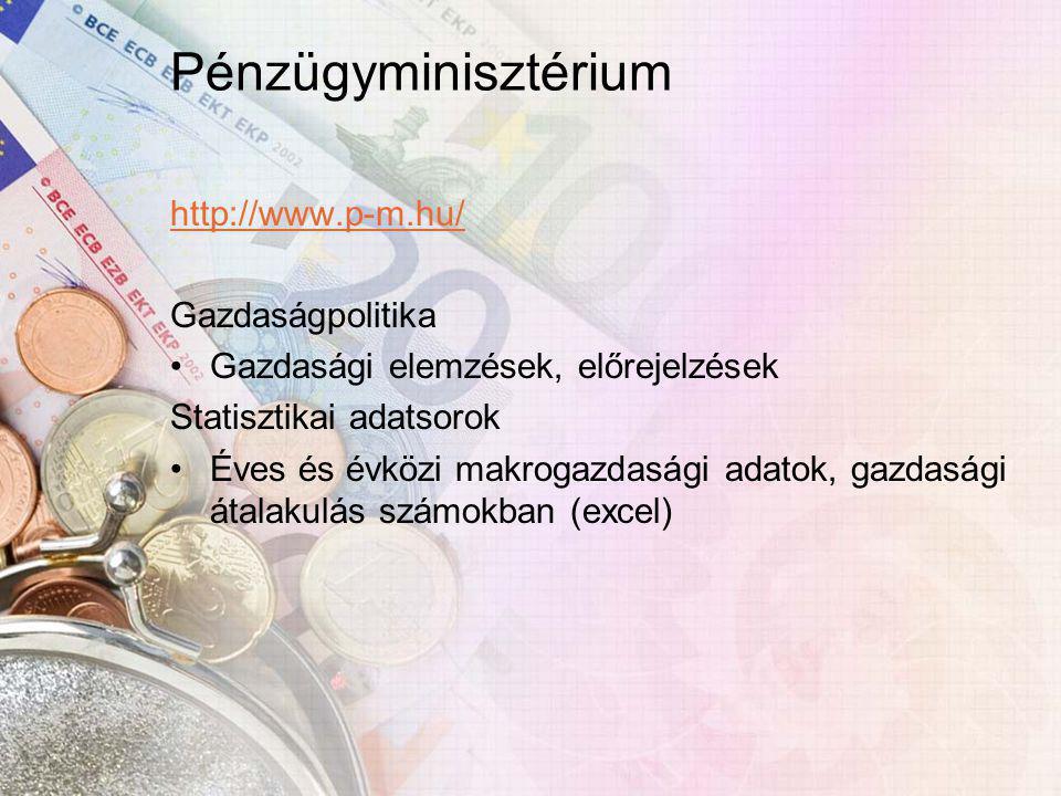 Pénzügyminisztérium http://www.p-m.hu/ Gazdaságpolitika Gazdasági elemzések, előrejelzések Statisztikai adatsorok Éves és évközi makrogazdasági adatok, gazdasági átalakulás számokban (excel)