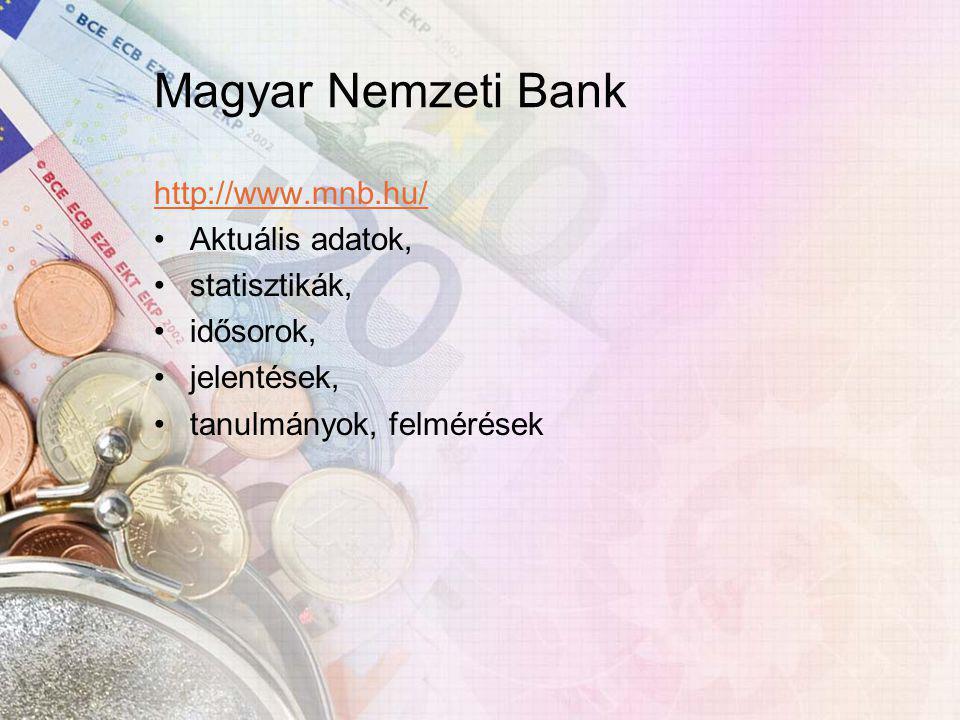 Magyar Nemzeti Bank http://www.mnb.hu/ Aktuális adatok, statisztikák, idősorok, jelentések, tanulmányok, felmérések