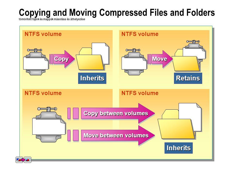 NTFS volumeRetains Inherits Inherits Copying and Moving Compressed Files and Folders tömörített fájlok és mappák másolása és áthelyezése CopyCopyMoveMove Move between volumes Copy between volumes