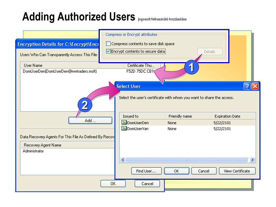 Adding Authorized Users jogosult felhasználó hozzáadása 2 1