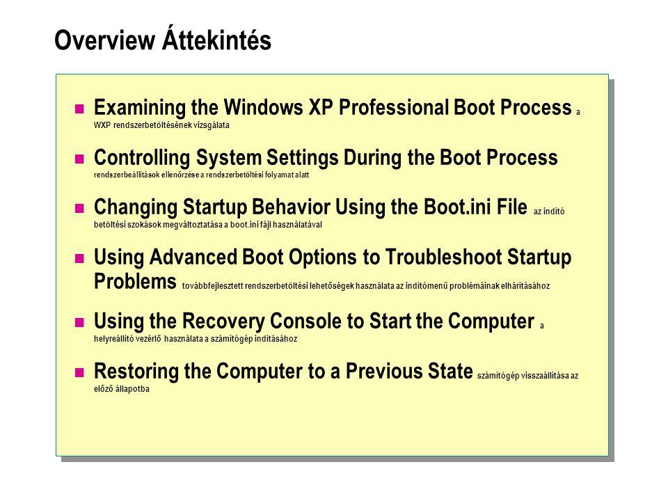 Overview Áttekintés Examining the Windows XP Professional Boot Process a WXP rendszerbetöltésének vizsgálata Controlling System Settings During the Boot Process rendszerbeállítások ellenőrzése a rendszerbetöltési folyamat alatt Changing Startup Behavior Using the Boot.ini File az indító betöltési szokások megváltoztatása a boot.ini fájl használatával Using Advanced Boot Options to Troubleshoot Startup Problems továbbfejlesztett rendszerbetöltési lehetőségek használata az indítómenű problémáinak elhárításához Using the Recovery Console to Start the Computer a helyreállító vezérlő használata a számítógép indításához Restoring the Computer to a Previous State számítógép visszaállítása az előző állapotba