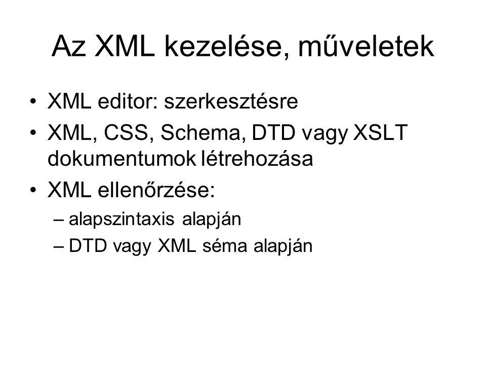 Az XML kezelése, műveletek XML editor: szerkesztésre XML, CSS, Schema, DTD vagy XSLT dokumentumok létrehozása XML ellenőrzése: –alapszintaxis alapján