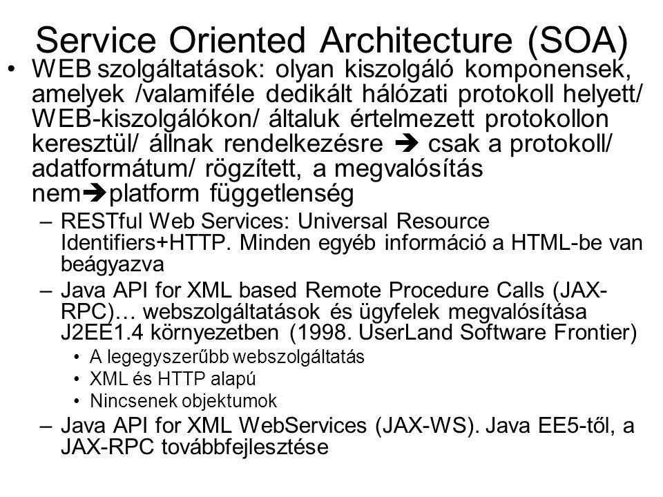 Service Oriented Architecture (SOA) WEB szolgáltatások: olyan kiszolgáló komponensek, amelyek /valamiféle dedikált hálózati protokoll helyett/ WEB-kis