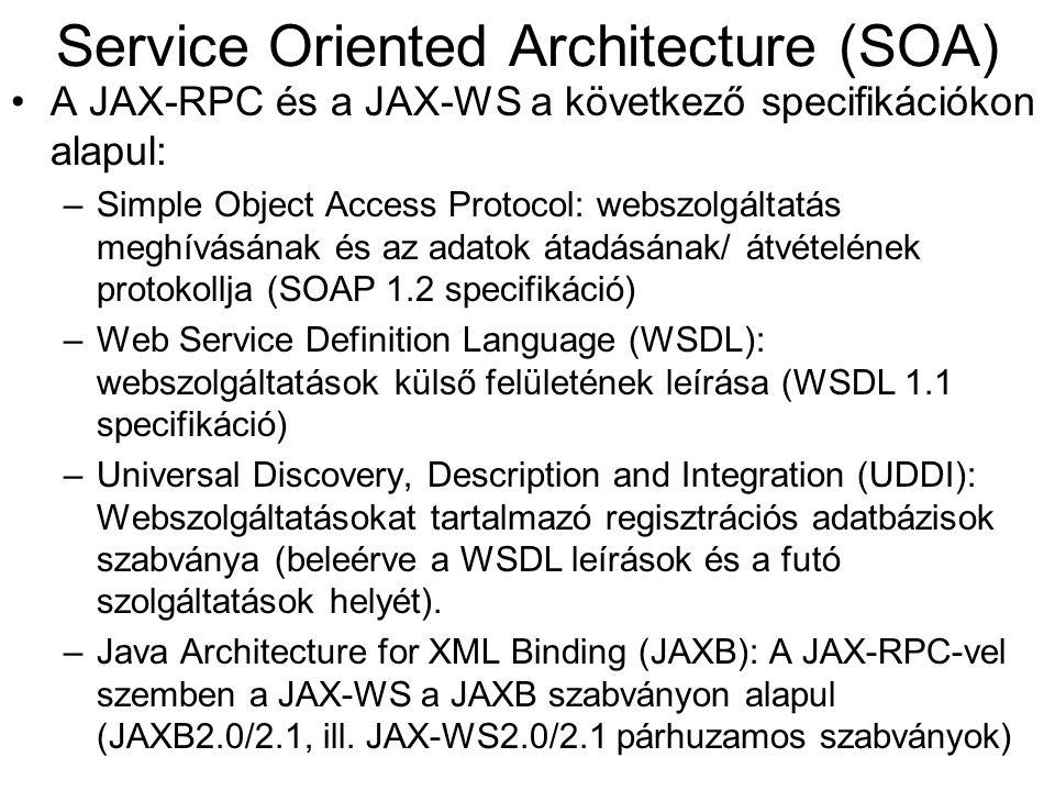 A JAX-RPC és a JAX-WS a következő specifikációkon alapul: –Simple Object Access Protocol: webszolgáltatás meghívásának és az adatok átadásának/ átvéte
