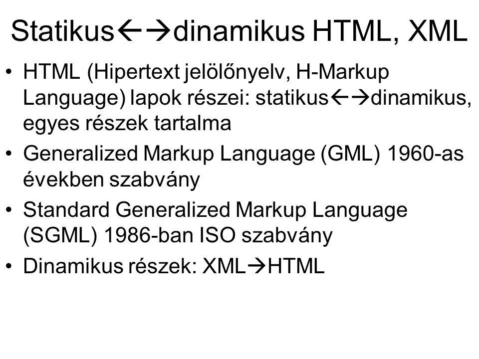 Statikus  dinamikus HTML, XML HTML (Hipertext jelölőnyelv, H-Markup Language) lapok részei: statikus  dinamikus, egyes részek tartalma Generalized