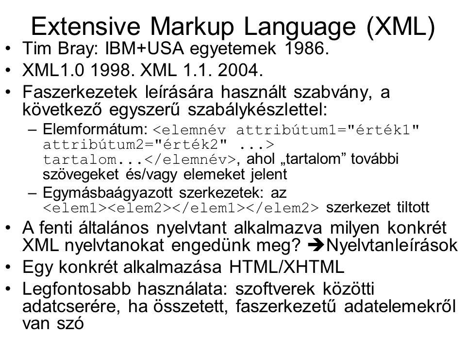 Extensive Markup Language (XML) Tim Bray: IBM+USA egyetemek 1986. XML1.0 1998. XML 1.1. 2004. Faszerkezetek leírására használt szabvány, a következő e