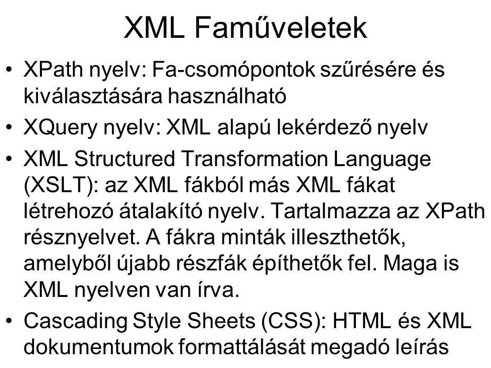 XML Faműveletek XPath nyelv: Fa-csomópontok szűrésére és kiválasztására használható XQuery nyelv: XML alapú lekérdező nyelv XML Structured Transformat