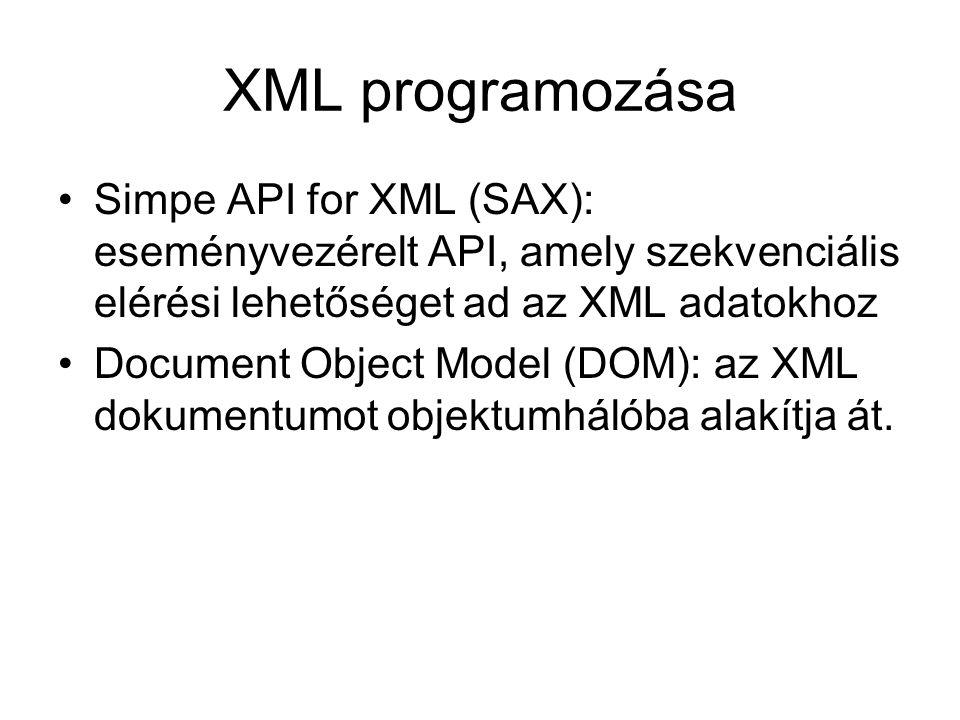 XML programozása Simpe API for XML (SAX): eseményvezérelt API, amely szekvenciális elérési lehetőséget ad az XML adatokhoz Document Object Model (DOM)