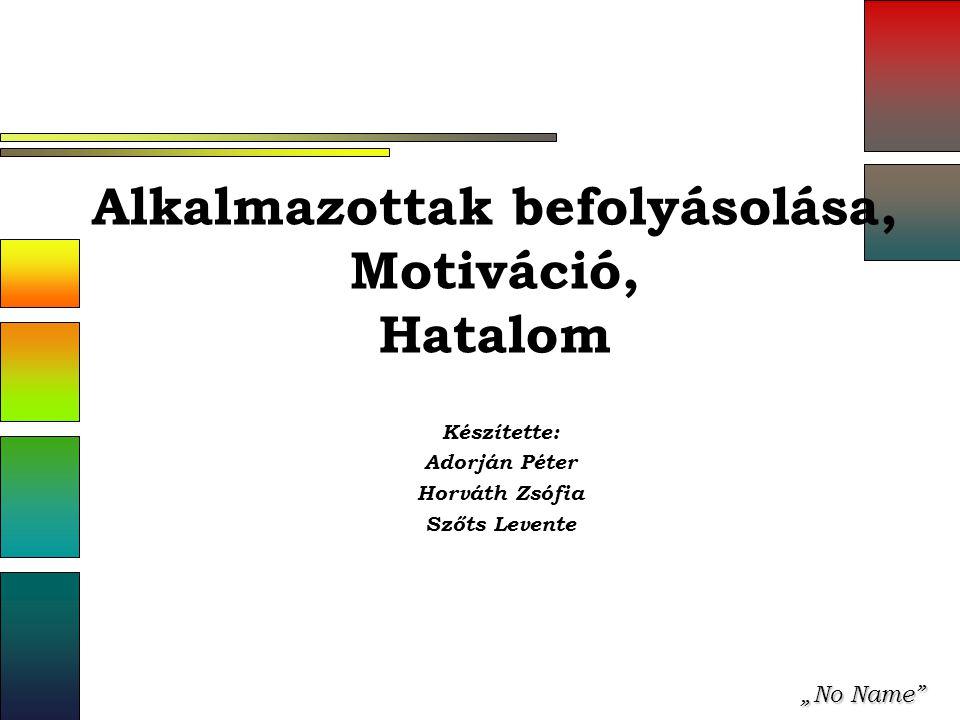 """""""No Name Alkalmazottak befolyásolása, Motiváció, Hatalom Készítette: Adorján Péter Horváth Zsófia Szőts Levente"""