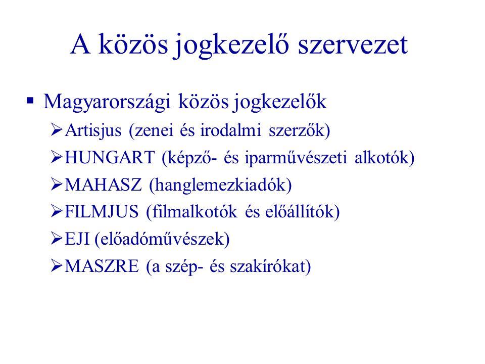 A közös jogkezelő szervezet  Magyarországi közös jogkezelők  Artisjus (zenei és irodalmi szerzők)  HUNGART (képző- és iparművészeti alkotók)  MAHA