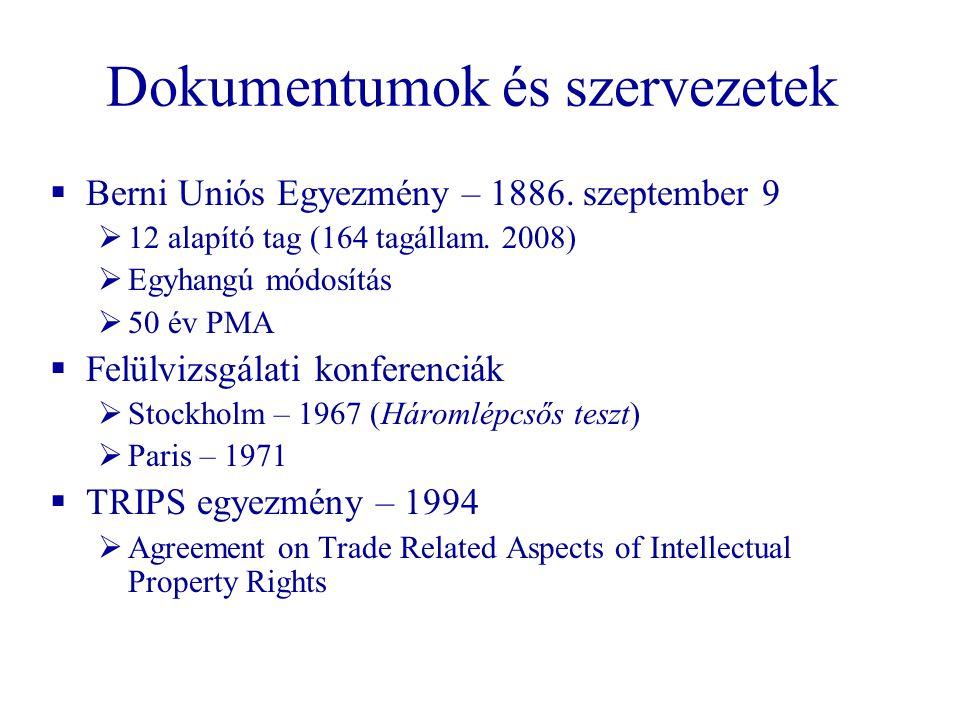 Dokumentumok és szervezetek  Berni Uniós Egyezmény – 1886. szeptember 9  12 alapító tag (164 tagállam. 2008)  Egyhangú módosítás  50 év PMA  Felü
