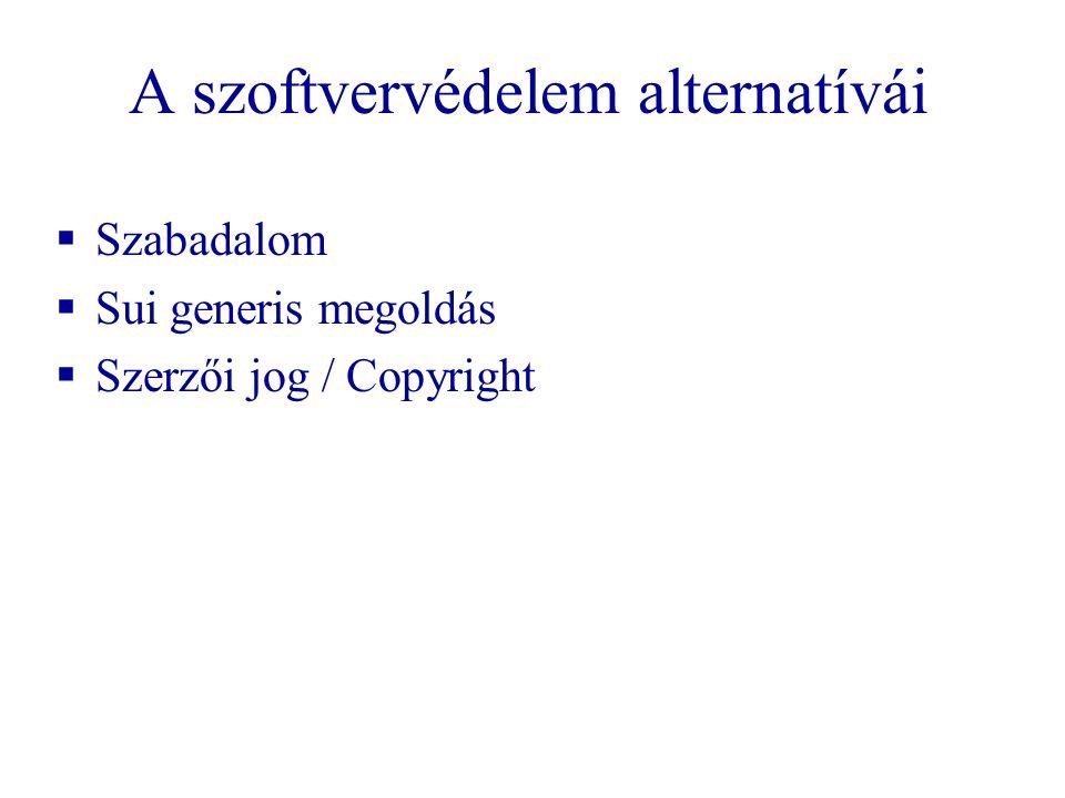 A szoftvervédelem alternatívái  Szabadalom  Sui generis megoldás  Szerzői jog / Copyright