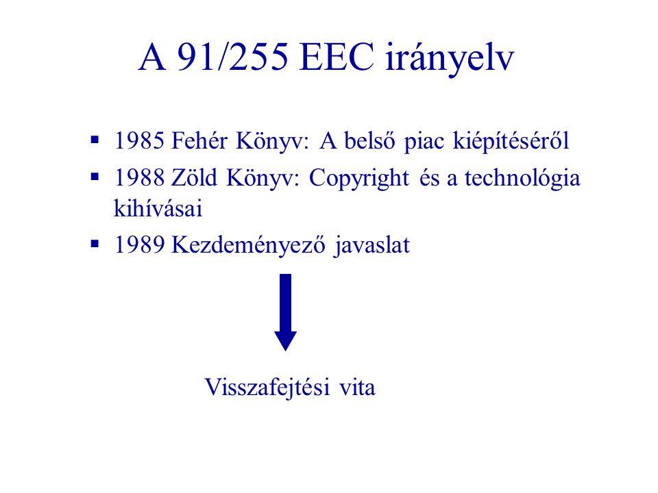 A 91/255 EEC irányelv  1985 Fehér Könyv: A belső piac kiépítéséről  1988 Zöld Könyv: Copyright és a technológia kihívásai  1989 Kezdeményező javasl