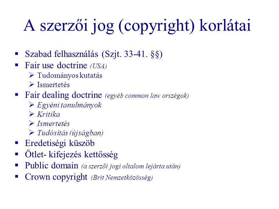 A szerzői jog (copyright) korlátai  Szabad felhasználás (Szjt. 33-41. §§)  Fair use doctrine (USA)  Tudományos kutatás  Ismertetés  Fair dealing
