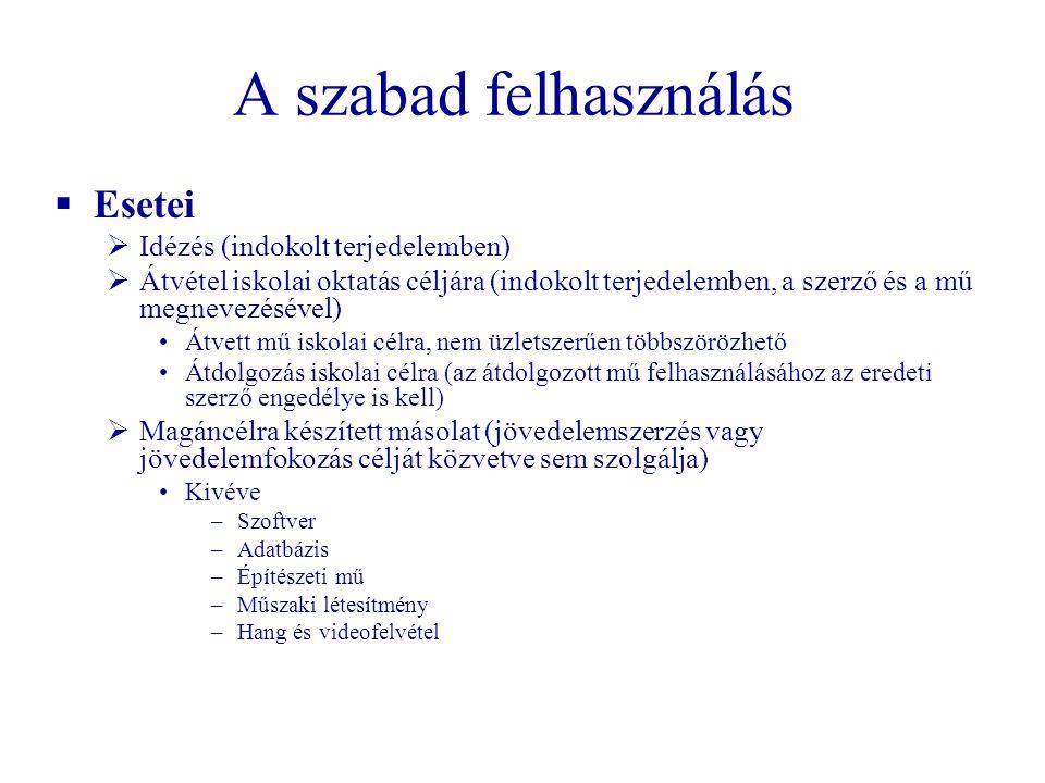A szabad felhasználás  Esetei  Idézés (indokolt terjedelemben)  Átvétel iskolai oktatás céljára (indokolt terjedelemben, a szerző és a mű megnevezé