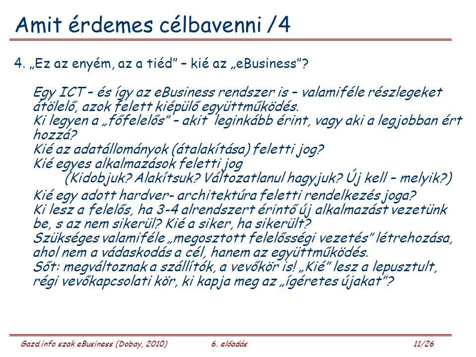 Gazd.info szak eBusiness (Dobay, 2010)6. előadás 11/26 Amit érdemes célbavenni /4 4.