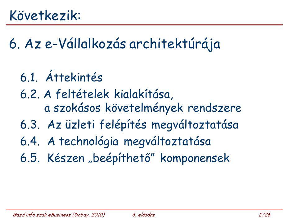 Gazd.info szak eBusiness (Dobay, 2010)6. előadás 2/26 Következik: 6.