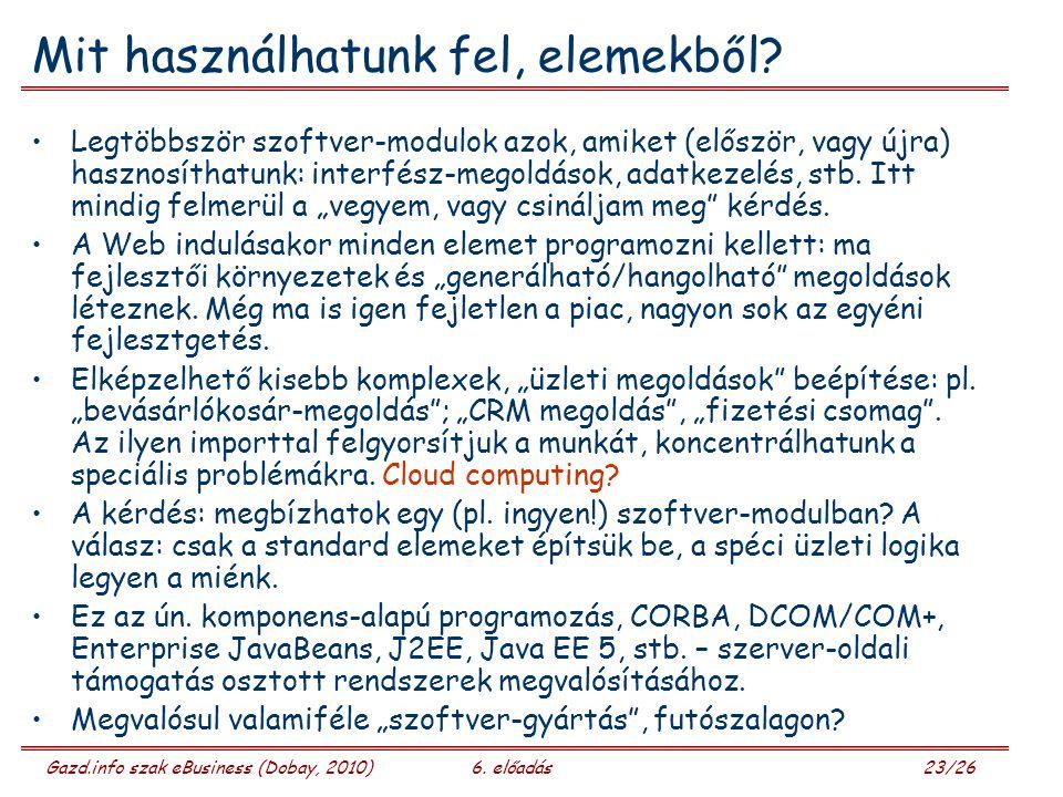 Gazd.info szak eBusiness (Dobay, 2010)6. előadás 23/26 Mit használhatunk fel, elemekből.