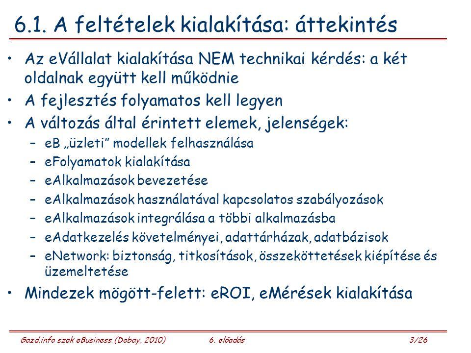 Gazd.info szak eBusiness (Dobay, 2010)6. előadás 3/26 6.1.