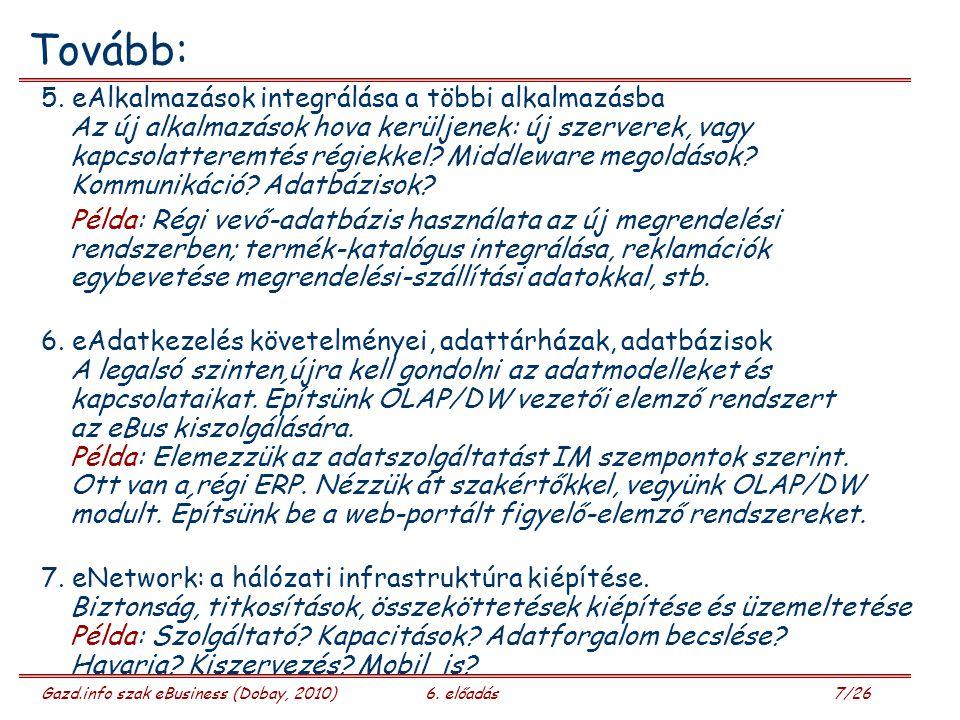 Gazd.info szak eBusiness (Dobay, 2010)6. előadás 7/26 Tovább: 5.