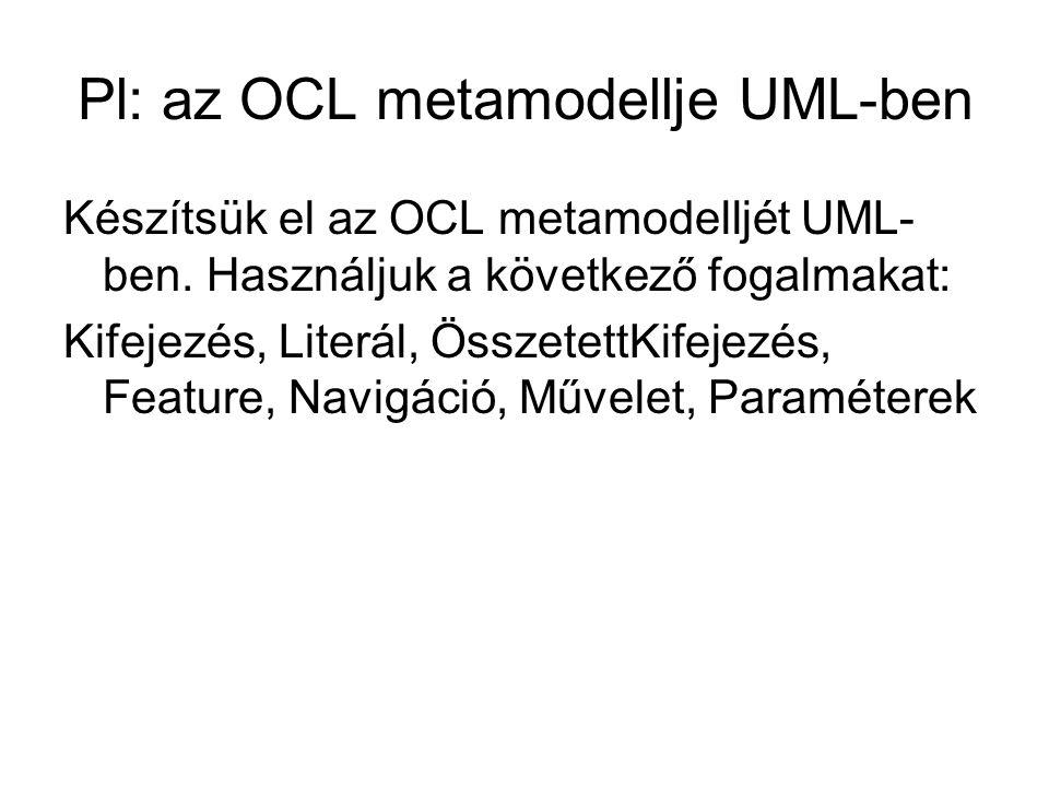 Pl: az OCL metamodellje UML-ben Készítsük el az OCL metamodelljét UML- ben.