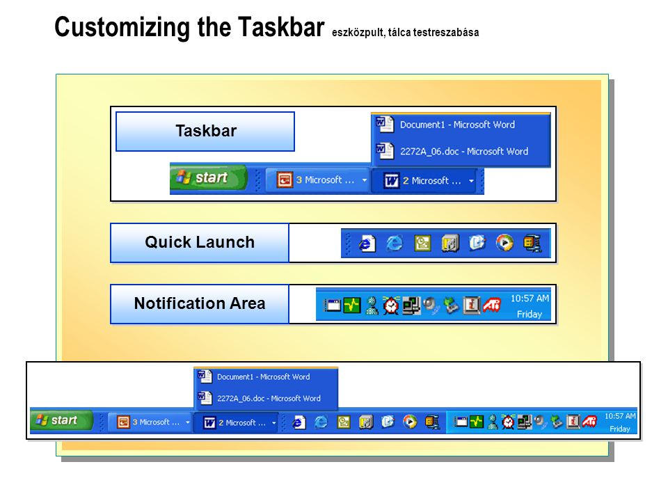 Customizing the Taskbar eszközpult, tálca testreszabása Taskbar Quick Launch Notification Area