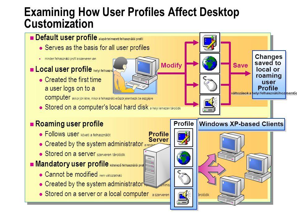 Roaming user profile Follows user követi a felhasználót Created by the system administrator a rendszer adminisztrátor hozza létre Stored on a server s
